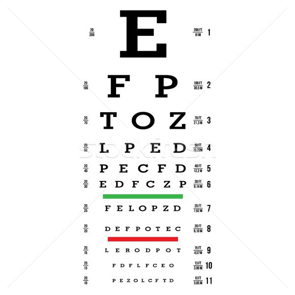 Eye Test Chart Vector. Letters Chart. Vision Exam. Optometrist Check. Medical Eye Diagnostic. Sight, Stock photo © pikepicture