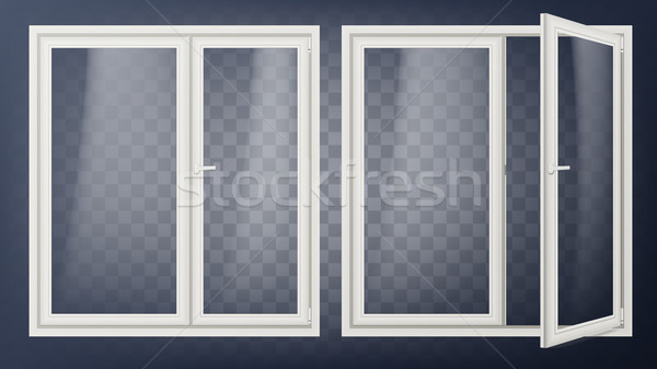 Plastic Glass Door Vector. Opened And Closed. Apartment Element. Isolated On Transparent Background  Stock photo © pikepicture