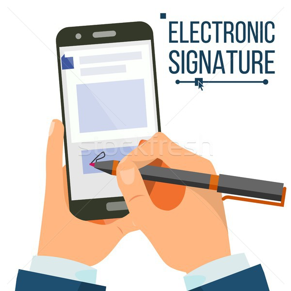 Electronic Signature Smartphone Vector. Businessman Hands. Digital Sign. Business Agreement. Electro Stock photo © pikepicture