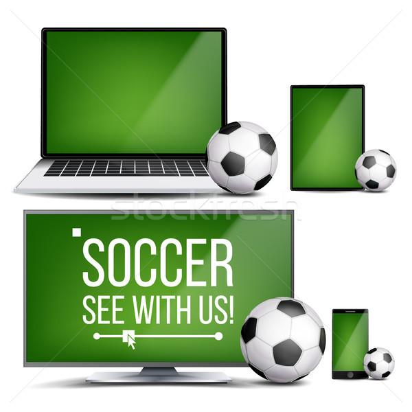 Soccer Application Vector. Field, Soccer Ball. Online Stream, Bookmaker, Sport Game App. Banner Desi Stock photo © pikepicture