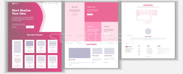Website Design Template Vector. Business Project. Landing Web Page. Financial Management. Looking Op Stock photo © pikepicture