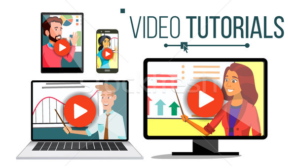 Video Tutorial Vector. Streaming Application. Online Education. Broadcasting. Conference Or Webinar. Stock photo © pikepicture
