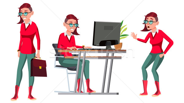 Office Worker Vector. Woman. Successful Officer, Clerk, Servant. In Action. Emo, Freak Hairstyle. Ad Stock photo © pikepicture