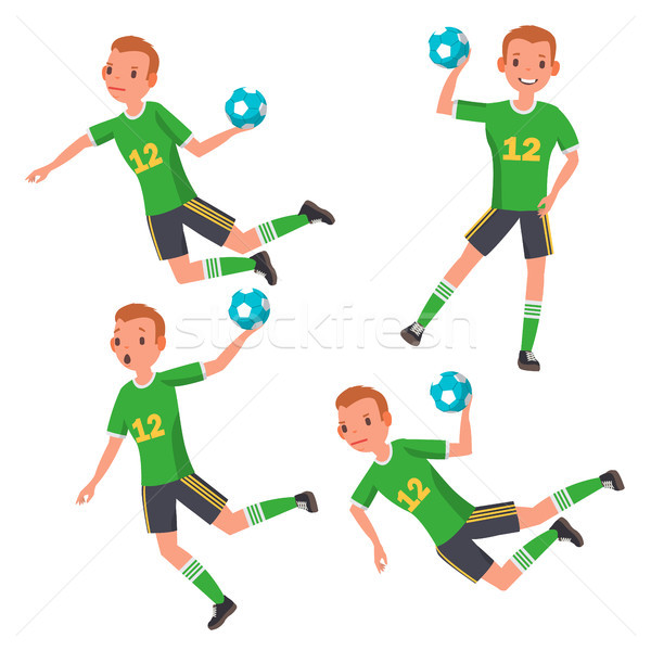 Handball Player Male Vector. Match Competition. Running, Jumping. Isolated Flat Cartoon Character Il Stock photo © pikepicture