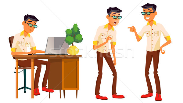 Office Worker Vector. Korean, Thai, Vietnamese. Face Emotions, Various Gestures. Business Man. Situa Stock photo © pikepicture