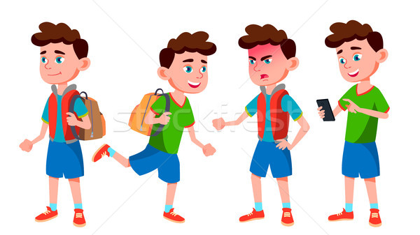 Boy Schoolboy Kid Poses Set Vector. Primary School Child. Cheerful Pupil. Friends. Life, Emotional.  Stock photo © pikepicture