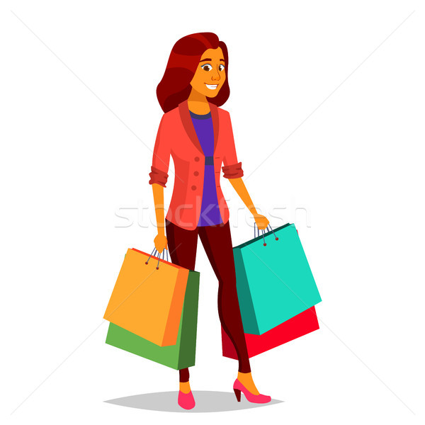 Shopping Woman Vector. Purchasing Concept. Store. Happy Shopper. Groceries In Shop, Supermarket. Hol Stock photo © pikepicture