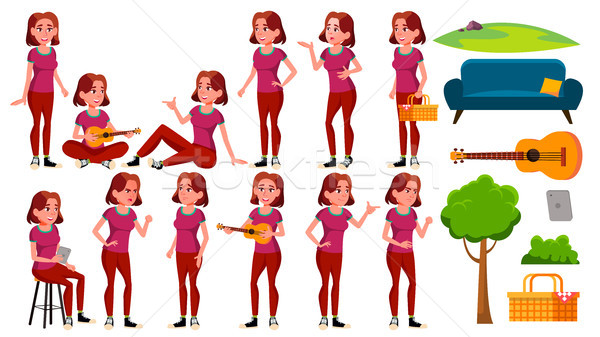 Teen Girl Poses Set Vector. Fun, Cheerful. For Web, Poster, Booklet Design. Isolated Cartoon Illustr Stock photo © pikepicture