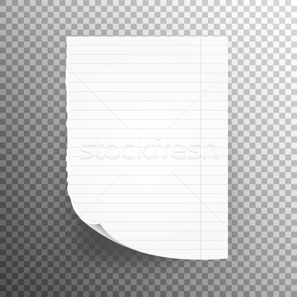 Notebook Paper With Torn Edge Vector Illustration. School Sheet Page Paper Stock photo © pikepicture