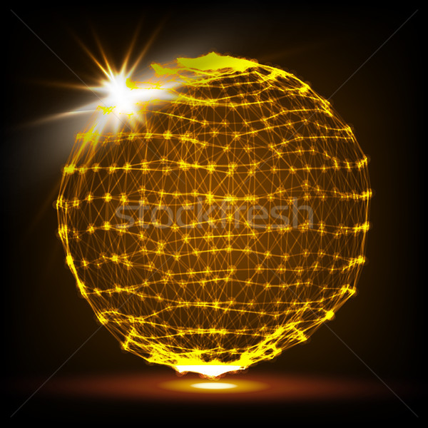 Flying Glowing Particles. Abstract Graphics. 3D Vector Illustration. Stock photo © pikepicture
