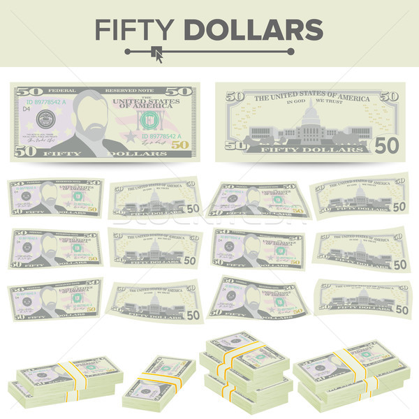 50 dollar bankbiljet vector cartoon valuta Stockfoto © pikepicture