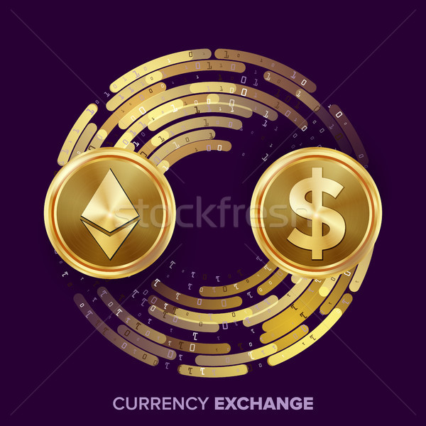 Digital Currency Money Exchange Vector. Ethereum Dollar. Fintech Blockchain. Gold Coins With Digital Stock photo © pikepicture