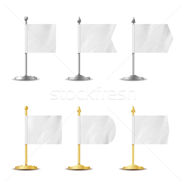Table Desk Flag Set. Vector Realistic Illustration. Desk Flag Mockup Isolated. Template Set For Busi Stock photo © pikepicture