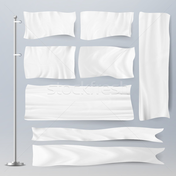 Realistic Template Blank White Flags Vector. Advertising Flag Banner And Fabric Canvas Poster For Ad Stock photo © pikepicture