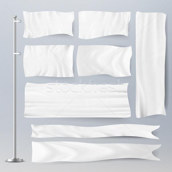 Realistyczny szablon biały flagi wektora reklamy Zdjęcia stock © pikepicture
