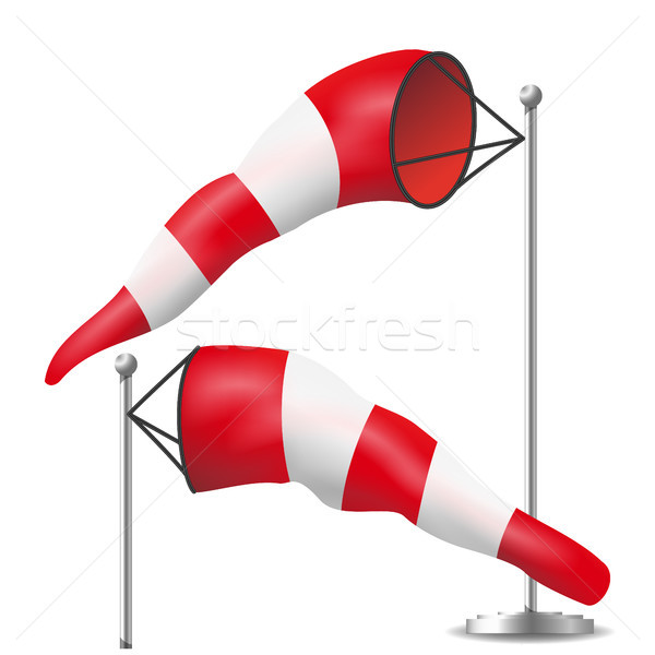 Windsock Vector. Realistic Meteorology Windsock Inflated By Wind. Red And White Stock photo © pikepicture