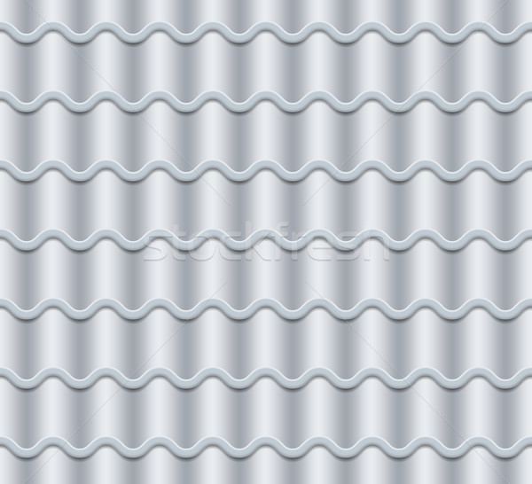 Grey Corrugated Tile Vector. Seamless Pattern. Classic Ceramic Tiles Cover. Fragment Of Roof Illustr Stock photo © pikepicture