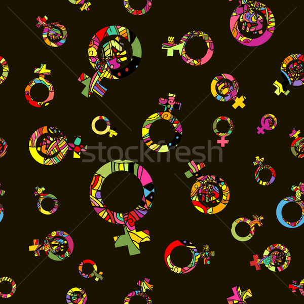 Vector Pattern 60s. Seamless Background Inspired Second Wave Feminism In 1960s Stock photo © pikepicture