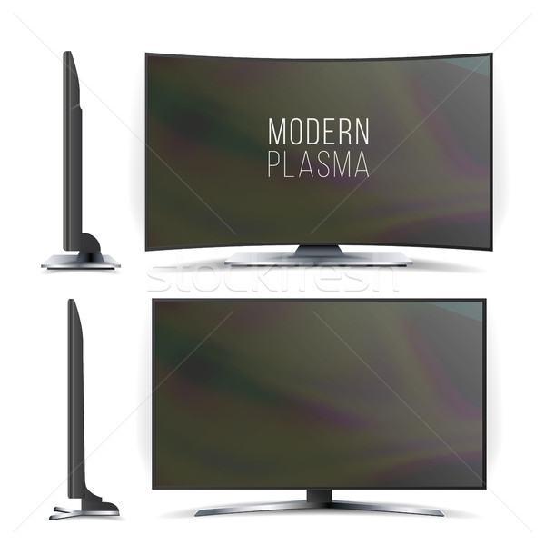 Screen Lcd Plasma Vector. Television Set. Curved and Flat TV screen lcd, plasma. Two Sides. Isolated Stock photo © pikepicture