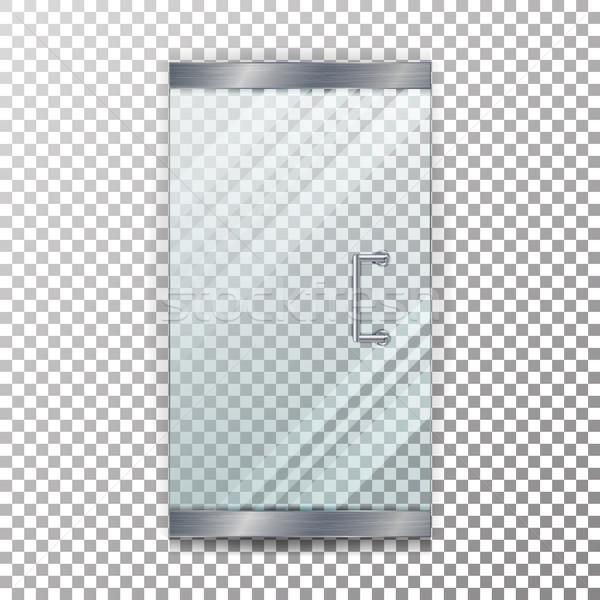 Verre porte transparent vecteur réaliste magasin Photo stock © pikepicture