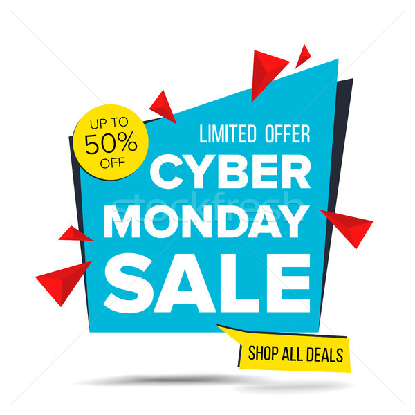 Cyber Monday Sale Banner Vector. Discount Up To 50 Off. Discount Tag, Special Monday Offer Banner. G Stock photo © pikepicture