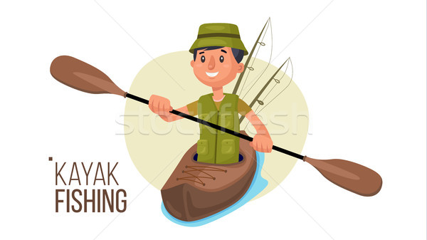 Paddling Kayak Vector. Summer Kayak Fishing. Fishermen Isolated Flat Cartoon Character Illustration Stock photo © pikepicture