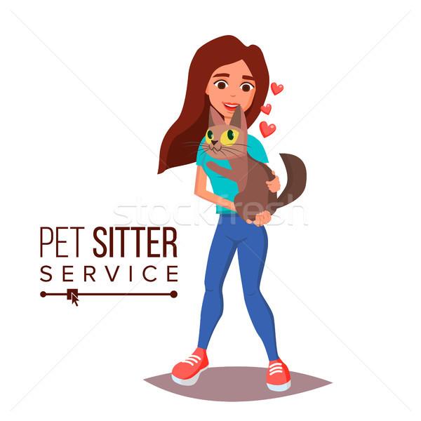 Kat huisdier dienst vector professionele vrouw Stockfoto © pikepicture