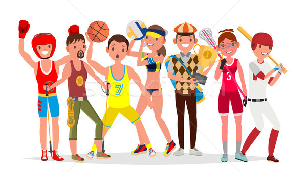 Summer Sports Vector. Set Of Players In Boxing, Hiking, Basketball, Volleyball, Golf, Lacrosse, Base Stock photo © pikepicture