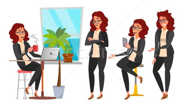 Stockfoto: Zakenvrouw · karakter · ingesteld · vector · werken · mensen