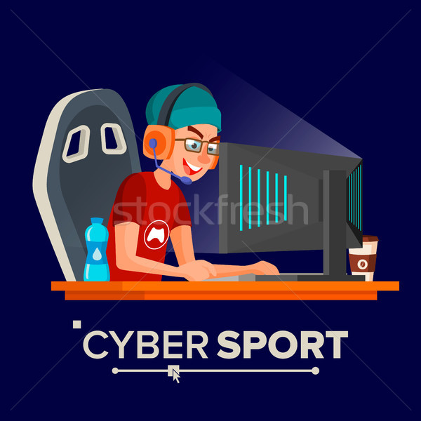 Cyber Sport Player Vector. Sitting At The Table. Cyber Sport Tournament. Competitive MMORPG. Final M Stock photo © pikepicture