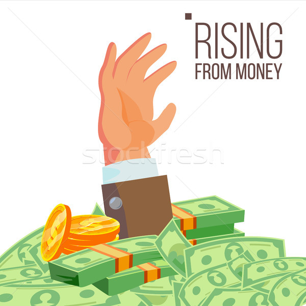 Businessman Hand Rising From Money Vector. Isolated Flat Illustration Stock photo © pikepicture