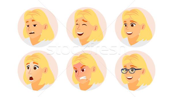 Business woman avatar wektora twarz emocje Zdjęcia stock © pikepicture