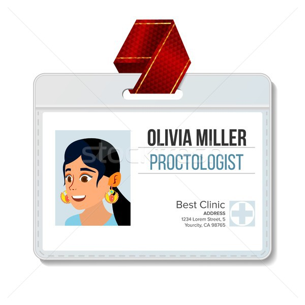Proctologist Identification Badge Vector. Woman. Id Card Template. Hospital. Health. Specialist Prof Stock photo © pikepicture