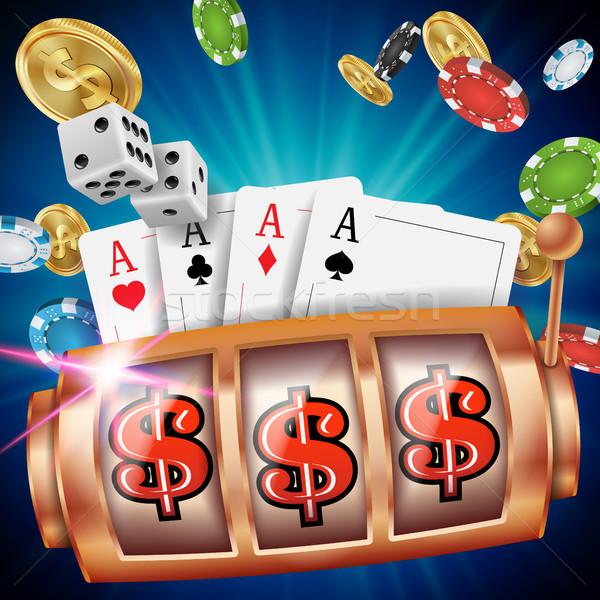 Casino Spielautomat Banner Vektor Spin Rad Stock foto © pikepicture