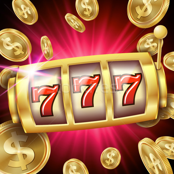 Slot Machine Banner Vector. Casino Luck Word. Big Win 777 Lottery. Poster. Illustration Stock photo © pikepicture