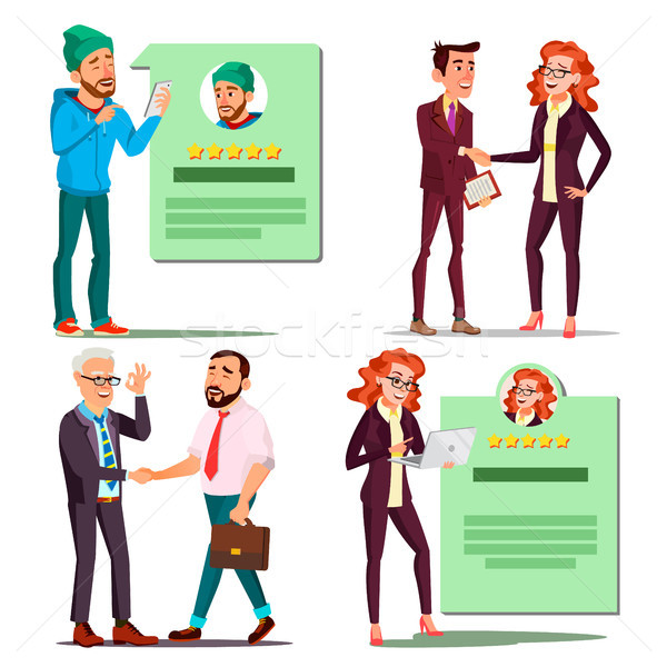 Happy Client Set Vector. Positive Rating. Smiling People. Partnership. Isolated Flat Cartoon Charact Stock photo © pikepicture