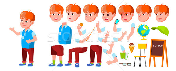 Boy Schoolboy Kid Vector. Primary School Child. Animation Creation Set. Cheerful Pupil. Friends. Emo Stock photo © pikepicture
