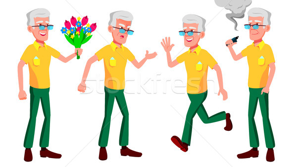 Old Man Poses Set Vector. Elderly People. Senior Person. Aged. Comic Pensioner. Lifestyle. Postcard, Stock photo © pikepicture
