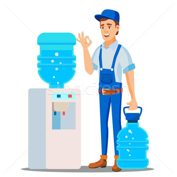 Stock photo: Water Delivery Service Man Vector. Drinking Clean Water. Bottled Water Shipment Worker. Isolated Fla
