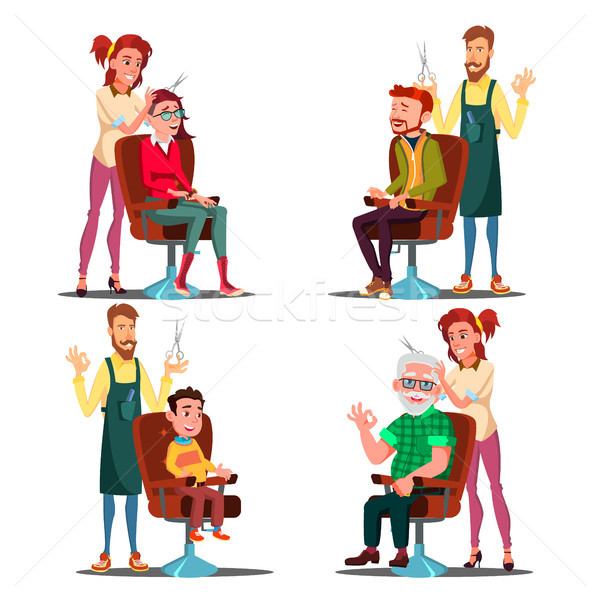 Hairdresser With Client Set Vector. Boy, Teen, Woman, Old Man. Professional Fashion Stilist. Service Stock photo © pikepicture