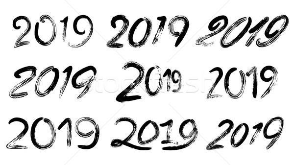 Signe vecteur grunge calligraphie happy new year Photo stock © pikepicture