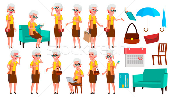 Old Woman Poses Set Vector. Elderly People. Senior Person. Aged. Comic Pensioner. Lifestyle. Postcar Stock photo © pikepicture