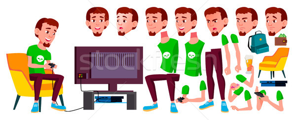Teen Boy Vector. Animation Creation Set. Face Emotions, Gestures. Positive Person. Animated. For Web Stock photo © pikepicture