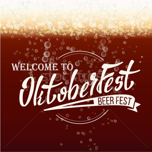 Oktoberfest sör fesztivál vektor tipográfia mintázott Stock fotó © pikepicture
