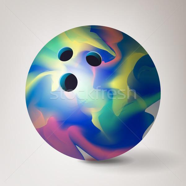 Bowlingkugel Vektor 3D realistisch Illustration glänzend Stock foto © pikepicture