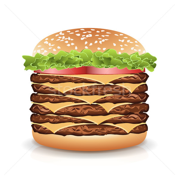 Fast food realistisch hamburger vector groot icon Stockfoto © pikepicture