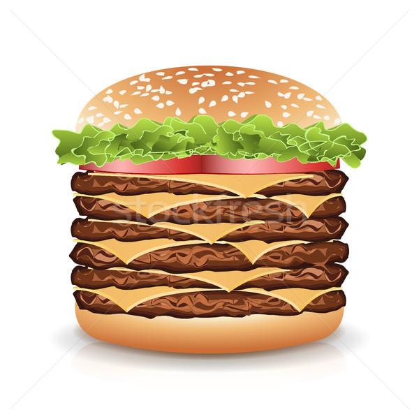 Fast-Food realistisch burger Vektor groß Symbol Stock foto © pikepicture