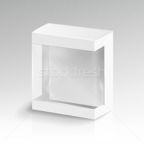 Witte karton rechthoek vector 3D lege Stockfoto © pikepicture