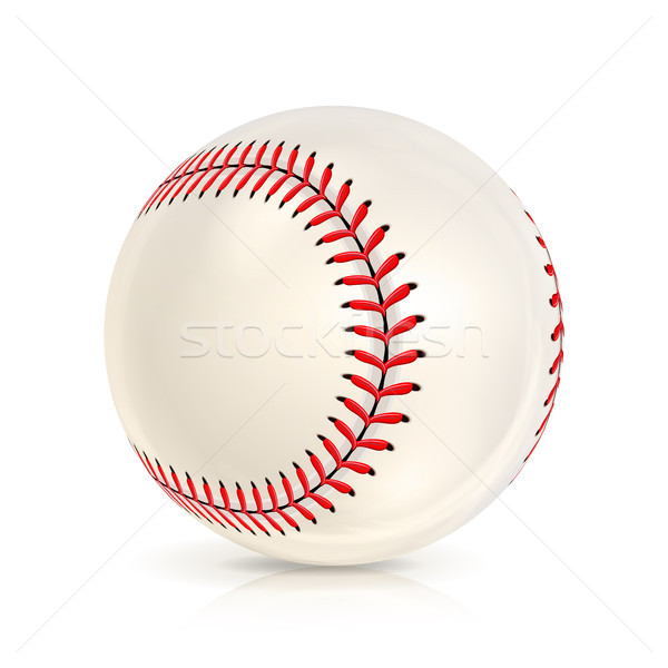 Baseball Leather Ball Isolated On White. SoftBall Base Ball. Shiny Baseball Ball. Sport Leather Ball Stock photo © pikepicture