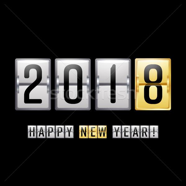 Gelukkig nieuwjaar vector scorebord counter groet Stockfoto © pikepicture